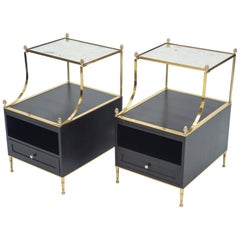 Rare Pair of French Maison Charles Brass Mirrored End Tables, 1950s