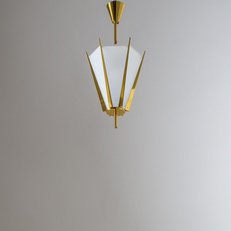 Brass Rare Pair of French Modernist Lanterns by Arlus, circa 1960 For Sale