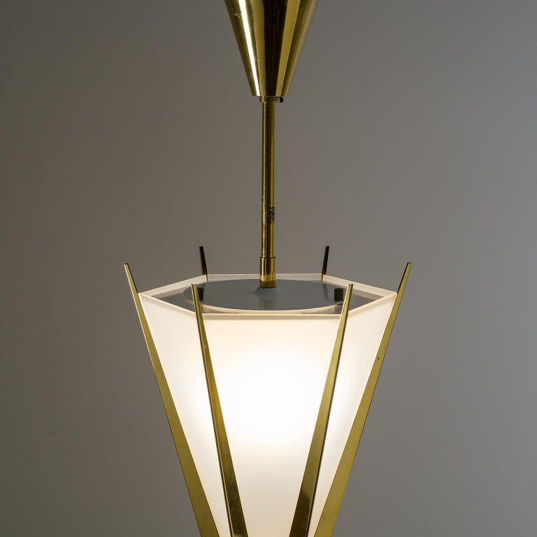 Rare Pair of French Modernist Lanterns by Arlus, circa 1960 For Sale 2