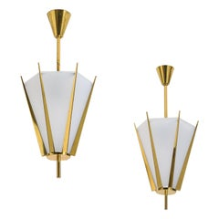 Rare Pair of French Modernist Lanterns by Arlus, circa 1960