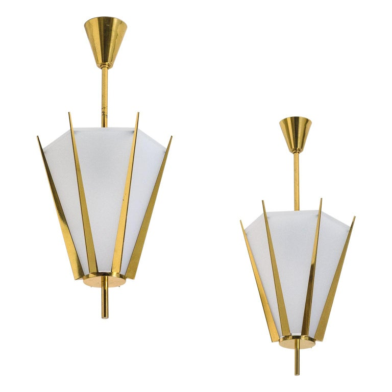 Rare Pair of French Modernist Lanterns by Arlus, circa 1960 For Sale