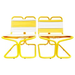 Rare Pair of French Outdoor Lounge Chairs