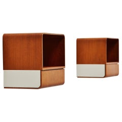 Rare Pair of Friso Kramer Bed Cabinets for Auping Euroika Series 1963 Teak White