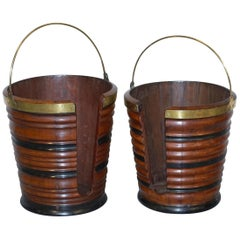 Rare Pair of George III 1780 Plate or Pete Buckets Georgian Mahogany and Brass