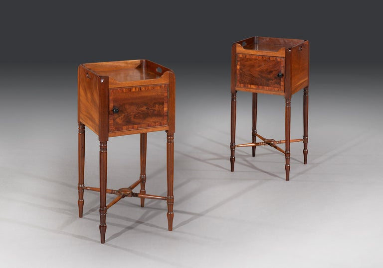 English Rare Pair of George III Flamed Mahogany and Ebony Bedside Cabinets
