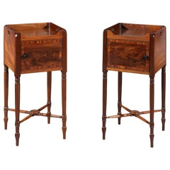 Rare Pair of George III Flamed Mahogany and Ebony Bedside Cabinets