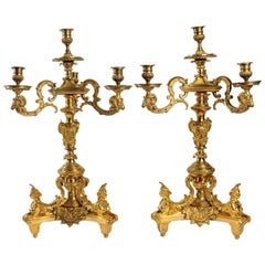 Rare Pair of Gilt Bronze Candelabras, after A-C Boulle France, Late 19th Century