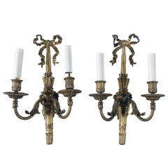 Rare Pair of Gilt Bronze E F Caldwell Sconces