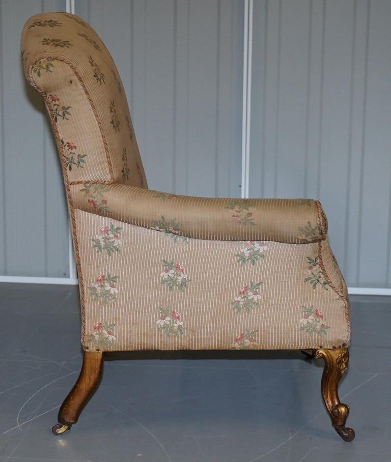 Rare Pair of Giltwood Victorian Asymmetrical Armchairs Embroidered Bird Covers For Sale 3