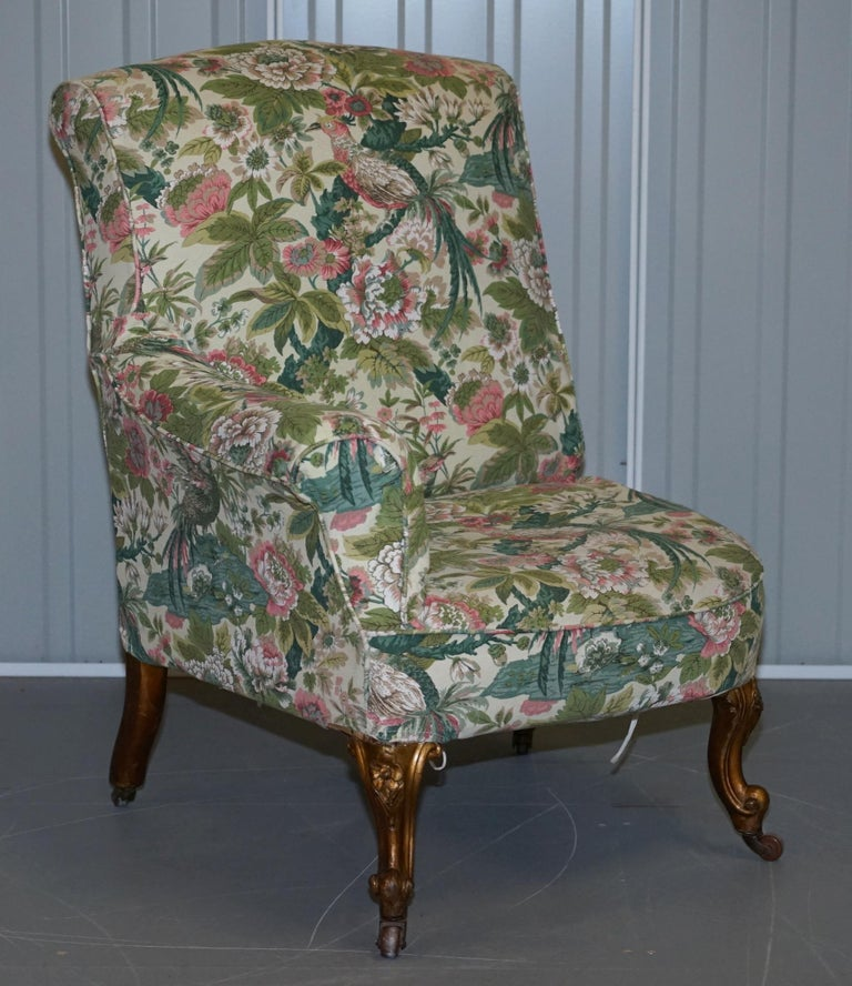 Rare Pair of Giltwood Victorian Asymmetrical Armchairs Embroidered Bird Covers For Sale 6