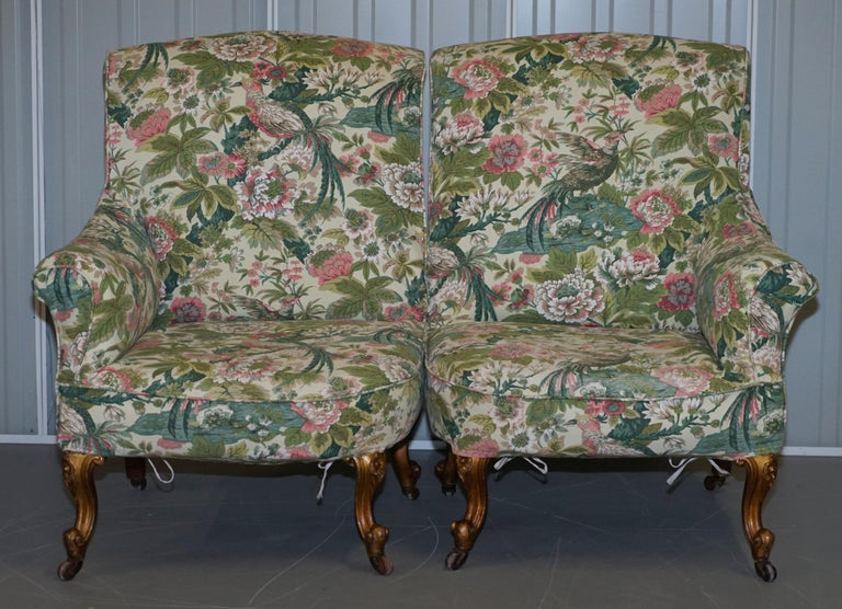 Rare Pair of Giltwood Victorian Asymmetrical Armchairs Embroidered Bird Covers For Sale 7
