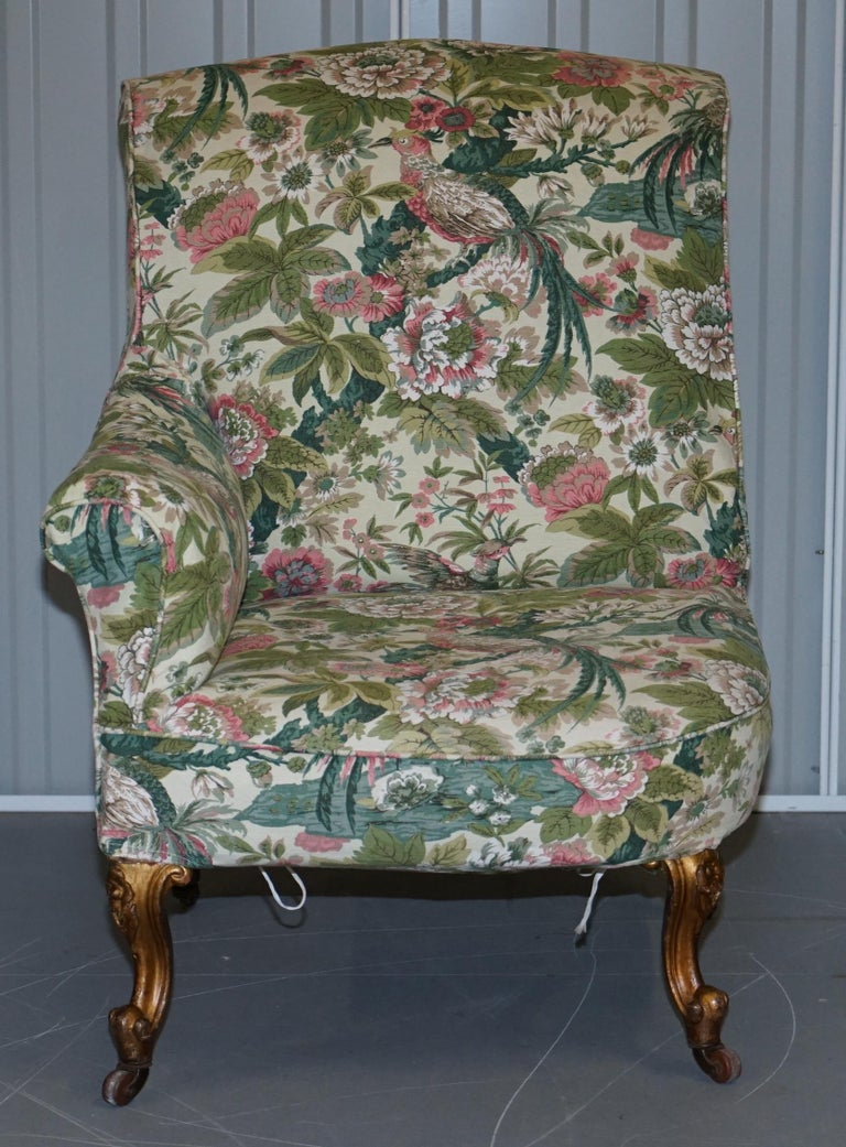 Rare Pair of Giltwood Victorian Asymmetrical Armchairs Embroidered Bird Covers For Sale 8