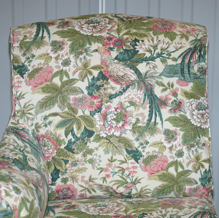 Rare Pair of Giltwood Victorian Asymmetrical Armchairs Embroidered Bird Covers For Sale 9