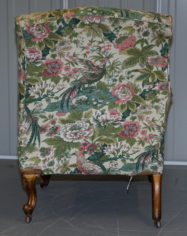 Rare Pair of Giltwood Victorian Asymmetrical Armchairs Embroidered Bird Covers For Sale 12