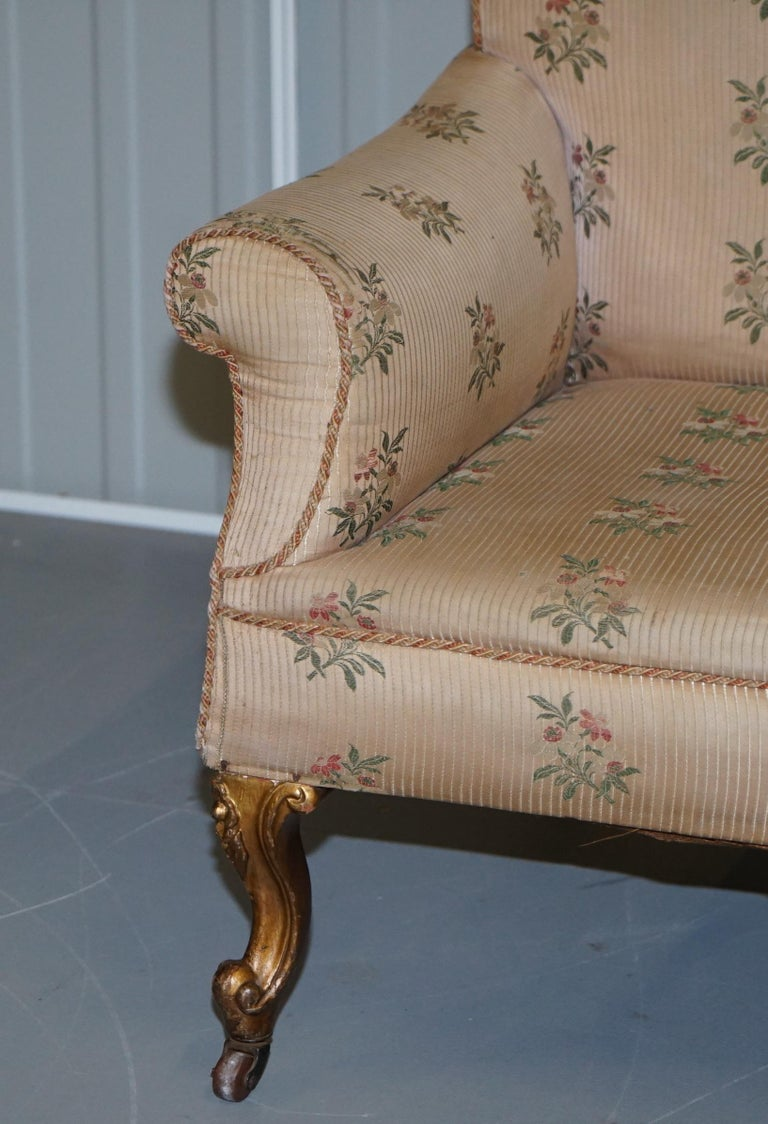 Upholstery Rare Pair of Giltwood Victorian Asymmetrical Armchairs Embroidered Bird Covers For Sale