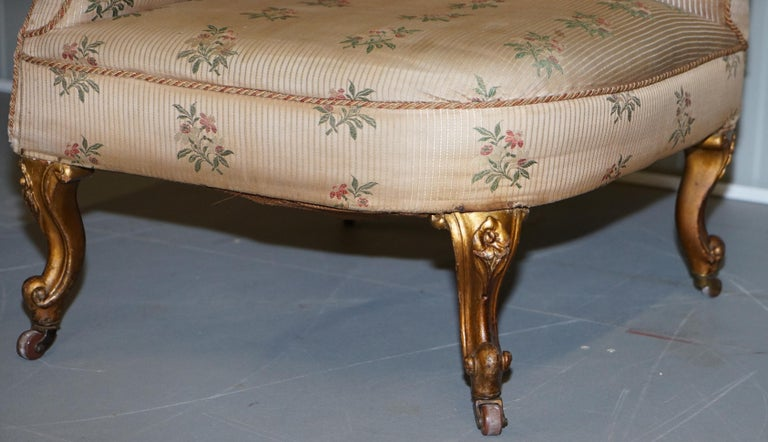Rare Pair of Giltwood Victorian Asymmetrical Armchairs Embroidered Bird Covers For Sale 1
