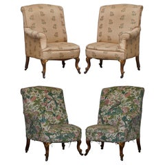 Rare Pair of Giltwood Victorian Asymmetrical Armchairs Embroidered Bird Covers