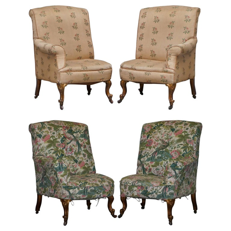 Rare Pair of Giltwood Victorian Asymmetrical Armchairs Embroidered Bird Covers For Sale