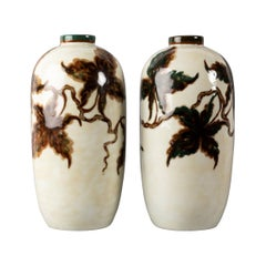 Rare Pair of Glazed Porcelain Vases by C. Tharaud, Limoges, France, circa 1930