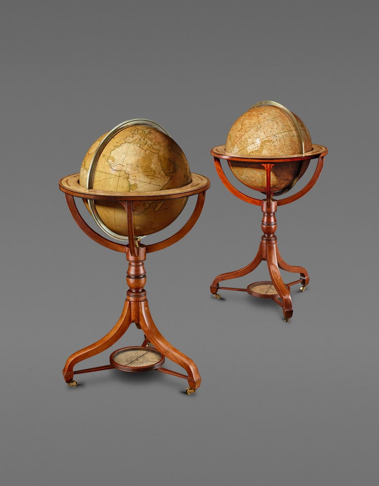George IV Rare Pair of Globes, London 1816/1828, John and William Cary For Sale