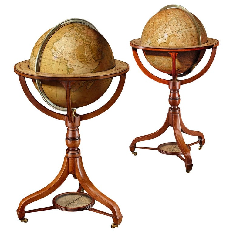 Rare Pair of Globes, London 1816/1828, John and William Cary For Sale