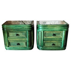 Rare Pair of Green Bamboo and Rattan Nightstands, Spain, 1970s