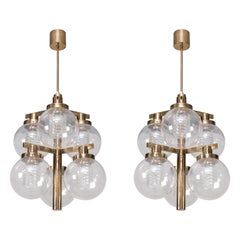 Rare Pair of Hans-Agne Jakobsson Brass Chandeliers, 1960s