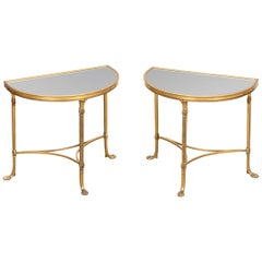 Rare Pair of Hollywood Regency French Mirror Top Gilt Bronze End Tables