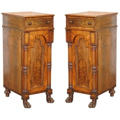 Rare Pair of Huge William IV 1830 Flamed Mahogany Side Cabinets Campaign Drawers