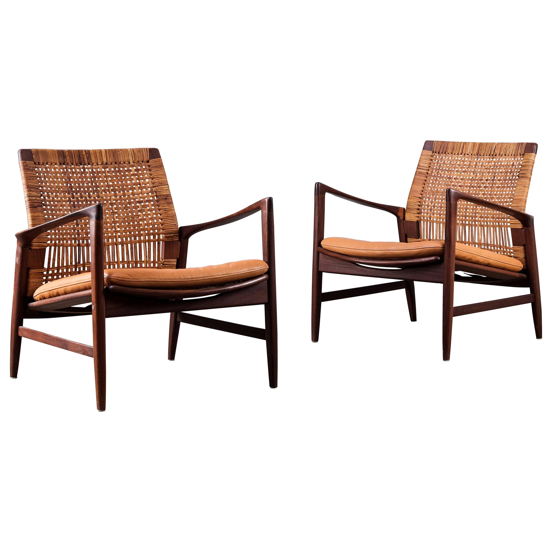 """Rare Pair of Ib Kofod-Larsen """"Åre"""" Easy Chairs, 1960s"""