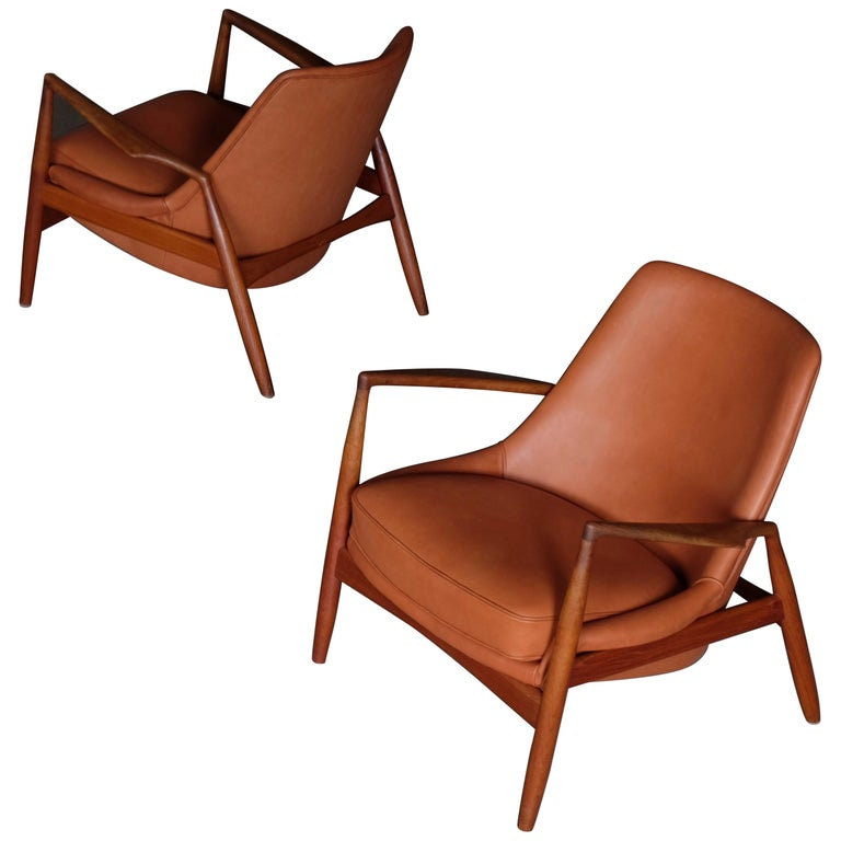 Rare Pair of Ib Kofod-Larsen Seal or Sälen Easy Chairs, 1960s For Sale