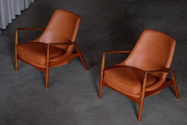 Leather and teak frame. Produced by OPE Möbler, Sweden, 1960s.  Excellent condition. Reupholstered.