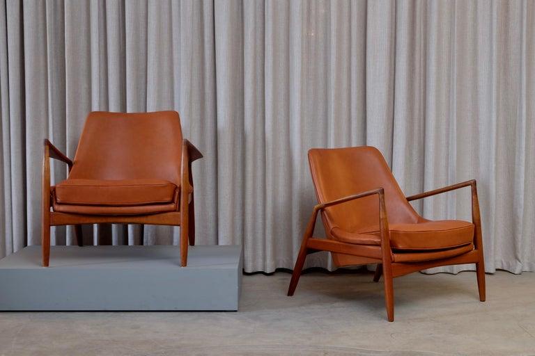 Scandinavian Modern Rare Pair of Ib Kofod-Larsen Seal or Sälen Easy Chairs, 1960s For Sale