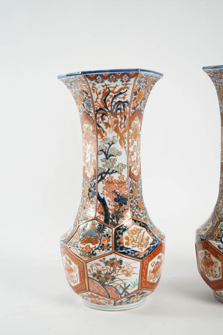 Rare Pair of Imari Porcelain Vases with Polychrome Decor, Japan, 19th Century.