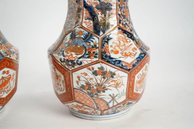 Japanese Rare Pair of Imari Porcelain Vases with Polychrome Decor, Japan, 19th Century For Sale