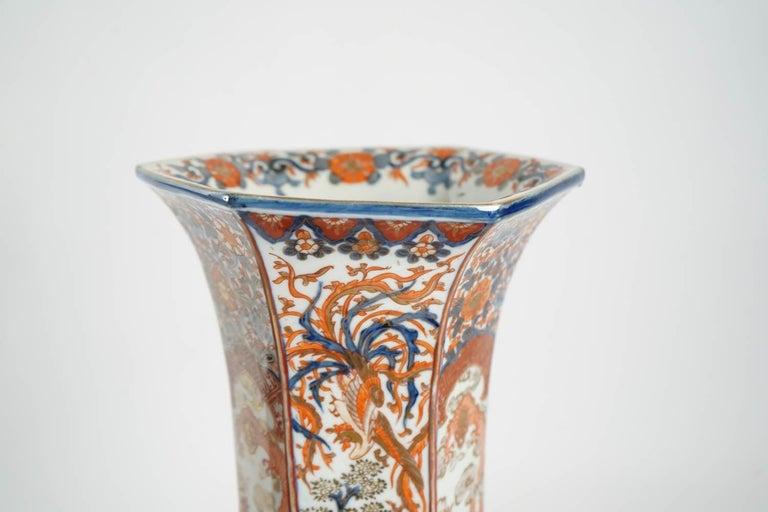 Rare Pair of Imari Porcelain Vases with Polychrome Decor, Japan, 19th Century For Sale 1