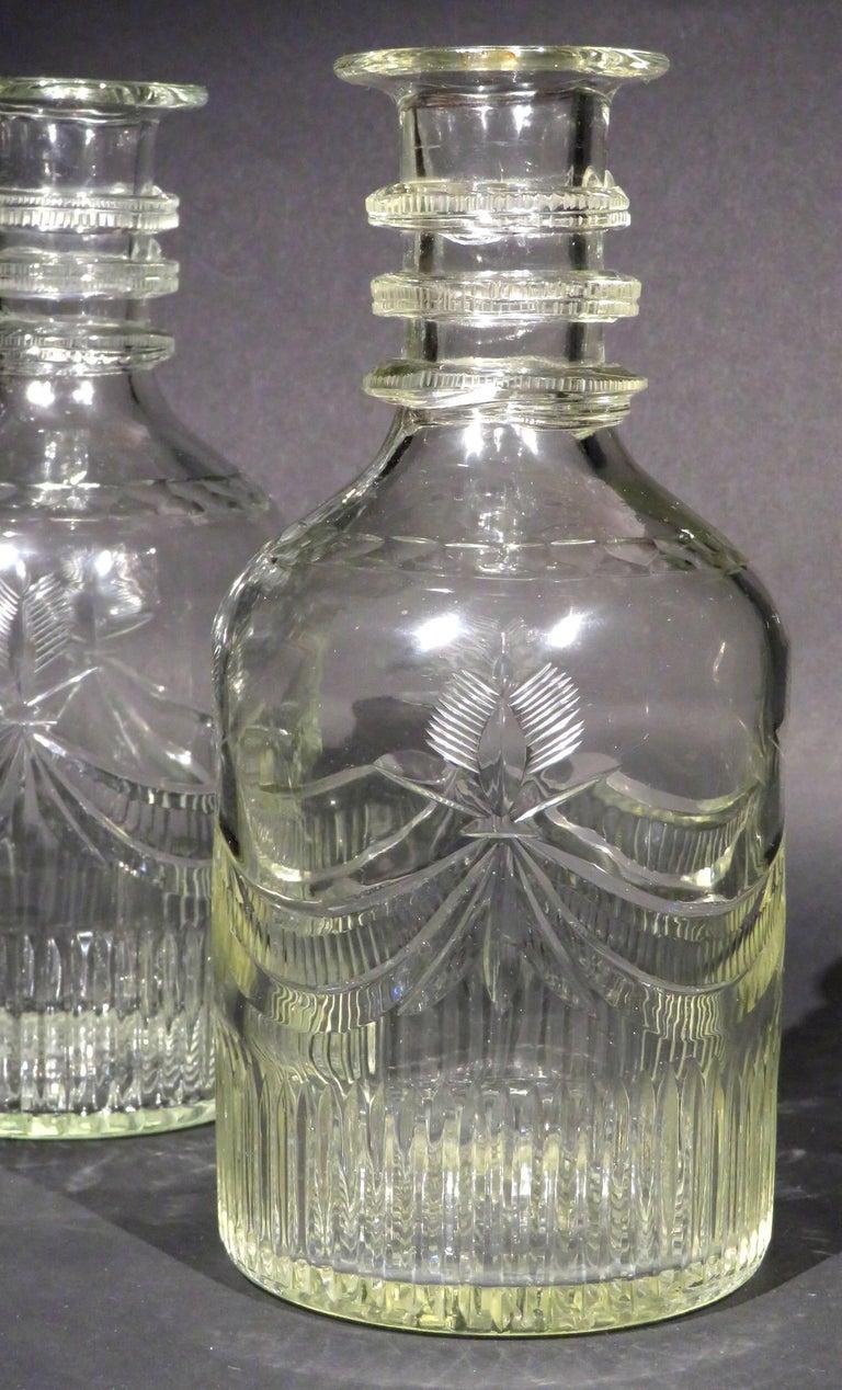 George III Rare Pair of Irish Georgian Cork Glass Company Wine Carafes,  Ireland Circa 1800 For Sale
