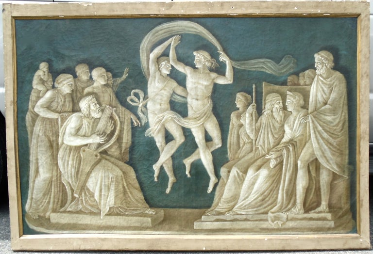 Rare pair of large 18th century Italian Grisaille paintings. Scenes from the Iliad. Neoclassical figures with blue background. Original frames.  Depicting the Marriage of Peleus and Thetis, Homer's great tale of Immortality and the Origin of the