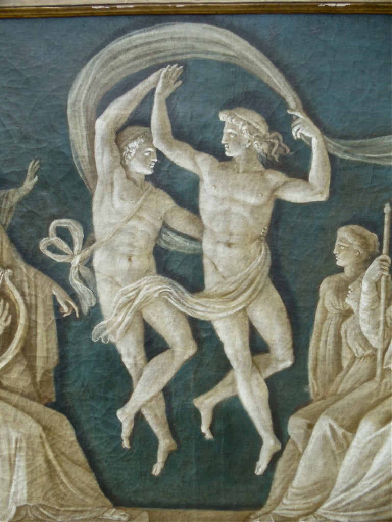 Canvas Rare Pair of Italian 18th Century Neoclassical Grisaille Panels For Sale