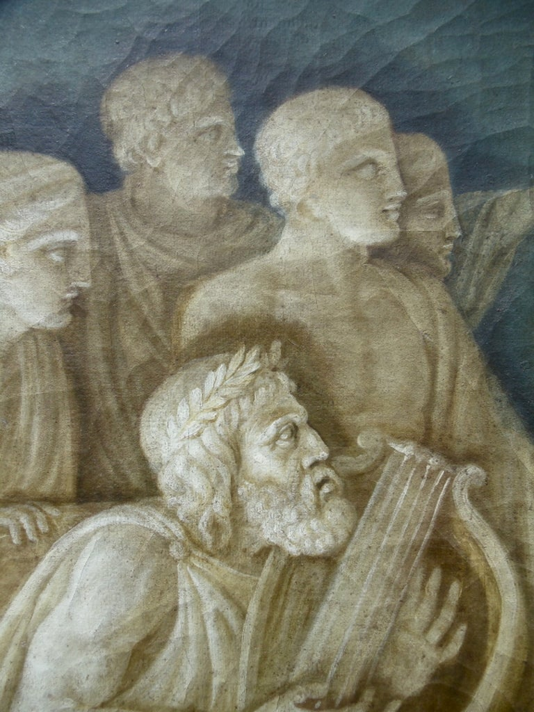 Rare Pair of Italian 18th Century Neoclassical Grisaille Panels For Sale 1