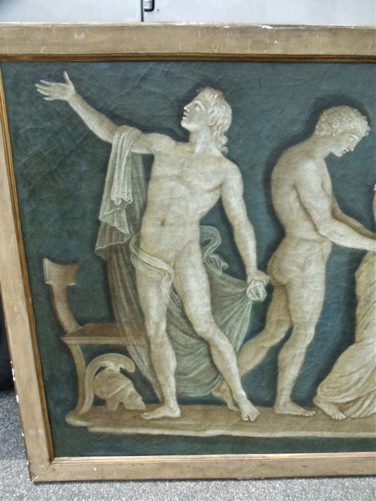 Rare Pair of Italian 18th Century Neoclassical Grisaille Panels For Sale 2
