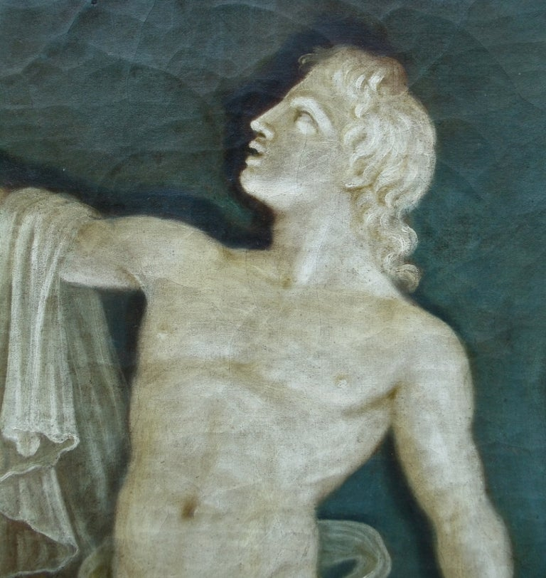Rare Pair of Italian 18th Century Neoclassical Grisaille Panels For Sale 3