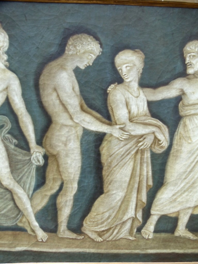Rare Pair of Italian 18th Century Neoclassical Grisaille Panels For Sale 5