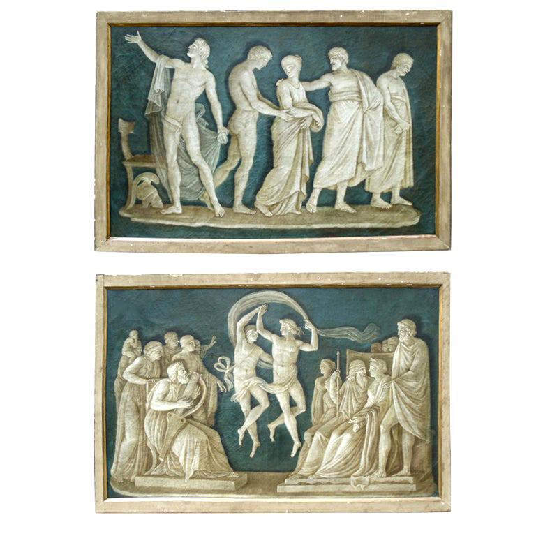 Rare Pair of Italian 18th Century Neoclassical Grisaille Panels For Sale