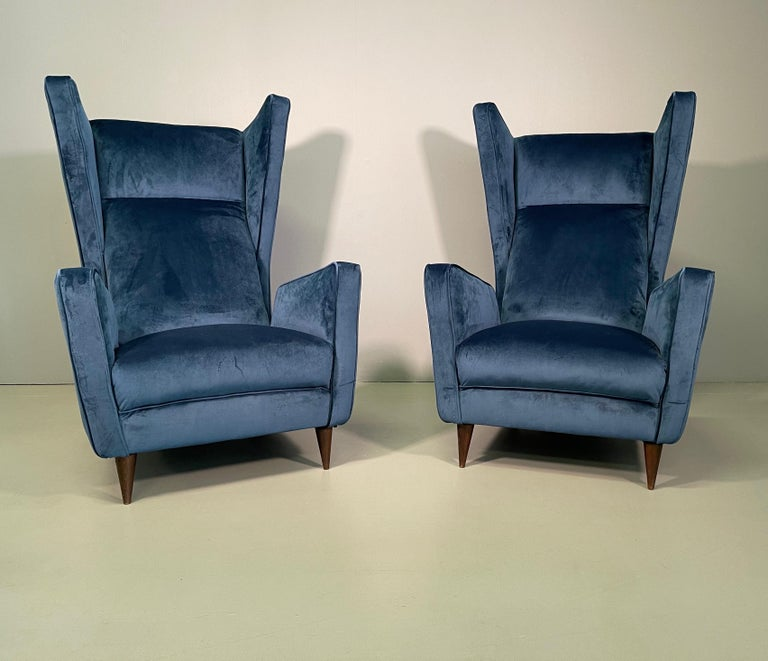 Mid-Century Modern Rare Pair of Italian Armchair by Mario Oreglia For Sale
