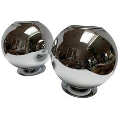 Rare Pair of Italian Mercury Glass Sphere Lamps, Excellent Condition