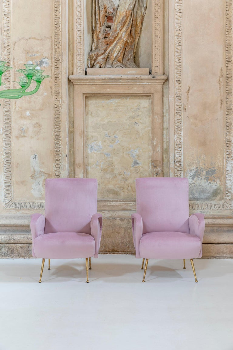 Mid-Century Modern Rare Pair of Italian Midcentury Armchairs For Sale