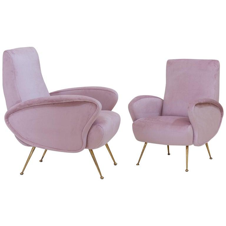 Rare Pair of Italian Midcentury Armchairs For Sale