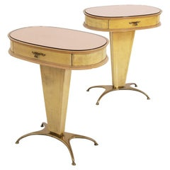 Rare Pair of Italian Parchment Night Stands Tables with Original Rose Glass