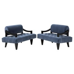Rare Pair of James Mont Lounge Chairs